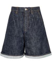 Loewe High-rise Wide-leg Denim Shorts - Blue
