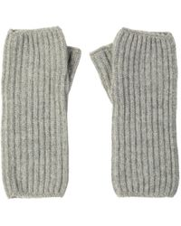 Johnstons Silver Ribbed Womens Cashmere Wristwarmers - Metallic