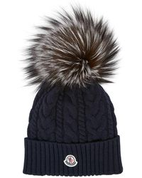 Moncler - Navy Cable Knit Pompom Beanie - Lyst