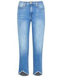 FRAME - Le Nouveau Straight Blue Jeans - Lyst