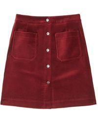Jigsaw Velvet Mini Skirt - Red