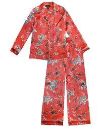 Meng Womens Red Small Flower Silk Satin Pyjama Set