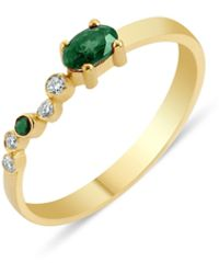 GFG Jewellery by Nilufer Seraphina Emerald Wing Ring - Metallic