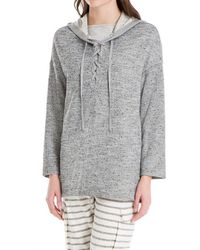 Leon Max - Hooded Pullover With Lace Up Neckline - Lyst