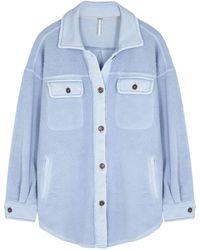 Free People Ruby Light Blue Distressed Fleece Overshirt