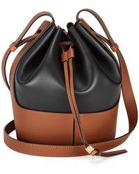 Loewe Large Balloon Leather Bucket Bag - Black