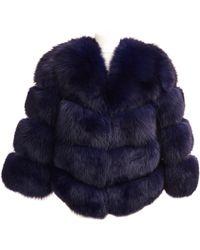 Popski London Faux Fur Kensington Jacket - Navy - Blue
