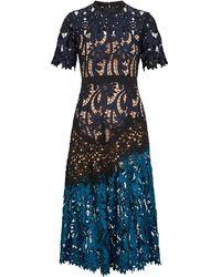 Self-Portrait Prairie Flower Lace Midi Dress - Blue
