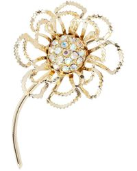 Susan Caplan 1960s Vintage Sarah Coventry Flower Swarovski Crystal Brooch - Metallic