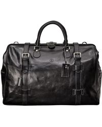 Maxwell Scott Bags Full Grain Black Leather Gladstone Luggage Bag