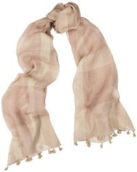 Eileen Fisher Checked Cotton And Silk-blend Scarf - Natural
