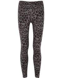 Varley Century Cheetah-print Cropped Leggings - Grey