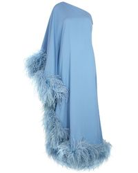 Taller Marmo Ubud Blue One-shoulder Feather-trimmed Gown