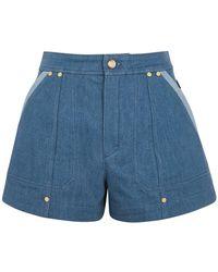 Chloé Blue Stretch-denim Shorts