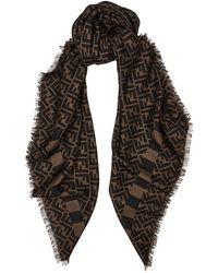 Fendi Monogrammed Cashmere-blend Scarf - Brown