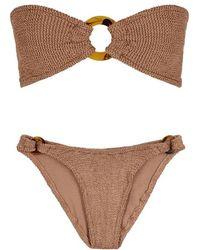 89ed18e2ee Hunza G Gloria Hoop Strapless Bikini, Size Os, Women, Yellow in Yellow -  Lyst