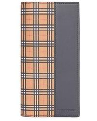 Burberry - Small Scale Check And Leather Continental Wallet - Lyst