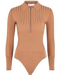 Jonathan Simkhai Emilia Camel Ribbed-knit Bodysuit - Natural