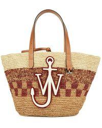 JW Anderson - Logo-appliquéd Panelled Raffia Tote - Lyst
