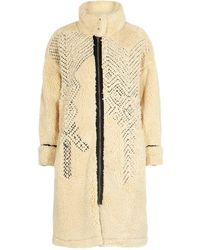 Free People Avery Embroidered Faux Shearling Coat - Natural