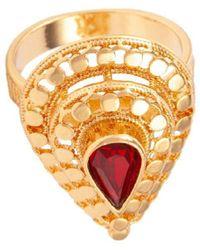 Susan Caplan Faux Ruby Teardrop Ring - Red