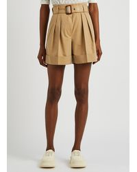 Alexander McQueen Belted Cotton Shorts - Natural