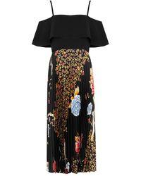 Victoria, Victoria Beckham Floral-print Pleated Satin-twill Midi Dress - Black