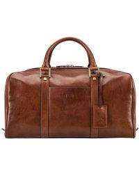 Maxwell Scott Bags Maxwell Scott Mens Real Leather Small Travel Holdall - Brown