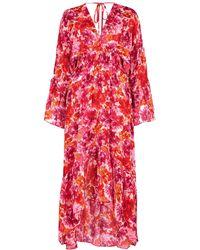 MISA Los Angles Shadi Floral-print Chiffon Midi Dress - Pink