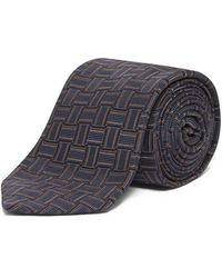 Chester Barrie - Slate Woven Tape Jacquard Tie - Lyst