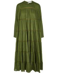 Merlette Maida Green Tiered Cotton-blend Midi Dress
