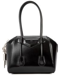 Givenchy Antigona Lock Mini Black Leather Top Handle Bag