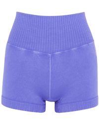 Free People Good Karma Blue Stretch-jersey Shorts
