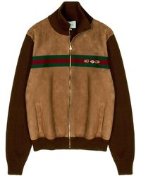 Gucci Suede And Knit Cotton Bomber Jacket - Brown