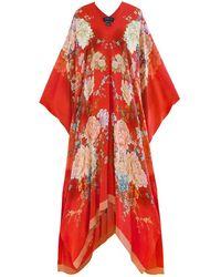 Meng Red Silk Georgette Kaftan