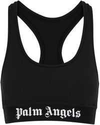 Palm Angels Black Ribbed Stretch-jersey Bra Top