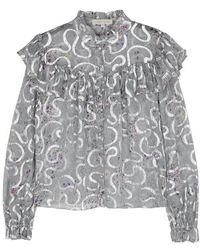 e0be07e1f219ae LoveShackFancy - Erica Printed Silk-blend Chiffon Blouse - Lyst