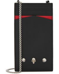 Alexander McQueen Black Leather Cross-body Phone Case