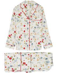 YOLKE Meadow Flower Printed Cotton Pyjama Set - White