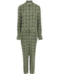 Equipment Armeria Green Printed Silk Jumpsuit