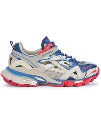 Balenciaga Track 2.0 Leather And Mesh Trainers - Blue