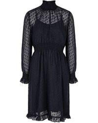 Birgitte Herskind Melanie Navy Fil Coupé Chiffon Dress - Blue