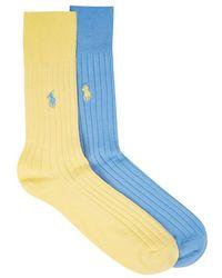 Polo Ralph Lauren - Ribbed Cotton Blend Socks - Lyst