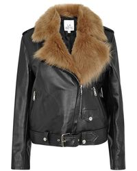La Bete   Moto Black Shearling And Leather Jacket   Lyst