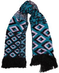 Diane von Furstenberg Afsana Turquoise And Purple Knitted Scarf - Blue