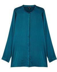 Eileen Fisher - Teal Silk Charmeuse Shirt - Lyst