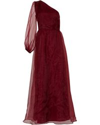 True Decadence Burgundy One Shoulder Tulle Maxi Dress - Red