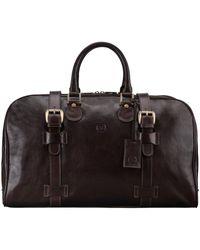 Maxwell Scott Bags Maxwell Scott Italian Leather Medium Weekend Bag - Brown