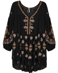 Free People - Arianna Black Embroidered Tunic - Lyst