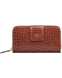 Maxwell Scott Bags Handcrafted Tan Faux Crocodile Leather Large Purse - Red